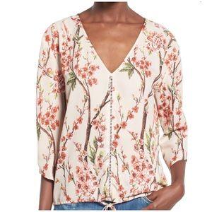 love sadie Tops - Love Sadie Beige V-Neck Floral Print XSmall Blouse